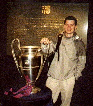 Ben Holding the European Cup