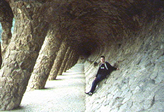 Ben in a passageway in Parc Guell