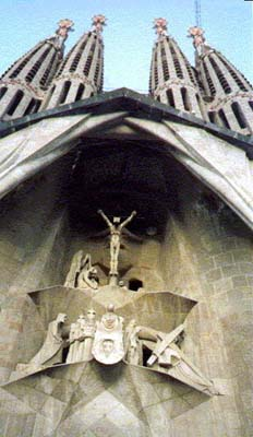 Entrance of the Sagrada Familla Cathedral, detail shows the crucificion of Christ